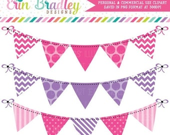 80% OFF SALE Pink and Purple Clipart Bunting with Polka Dotted Chevron and Striped Patterns Commercial Use Clip Art Graphics