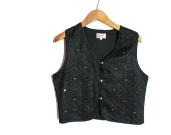 Black vest, Womens waistcoat, Embroidered vest, Black waistcoat, Vintage Womens vest, Women Waistcoat, Black Evening vest, Sequins / Medium