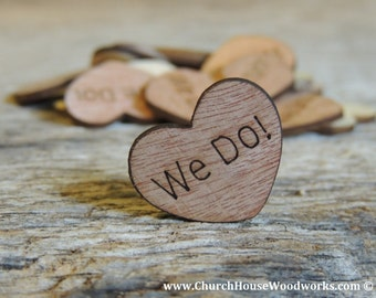 """100 We Do 1"""" Wood Hearts, Wood Confetti Engraved Love Hearts- Rustic Wedding Decor- Table Decorations- Small Wooden Hearts"""