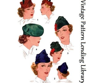 1936 Ladies Close Fitting Hats - Reproduction Sewing Pattern #H8515