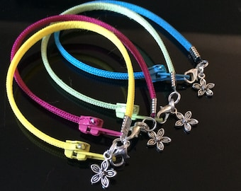 Zipper Bracelet - Flower Charm