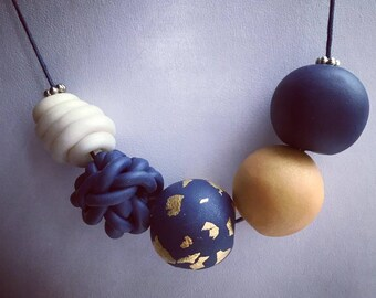Midnight Sky polymer beaded necklace