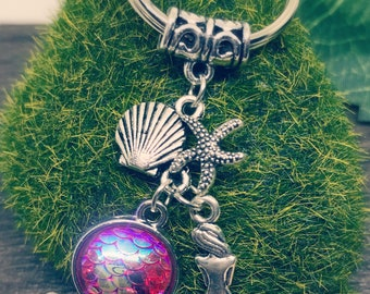 Pink Mermaid Scale Key Ring / Zipper Charm