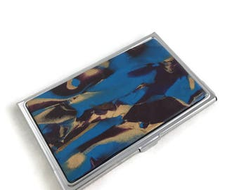 Beautiful Business Card Wallet Blue Stoney Clay