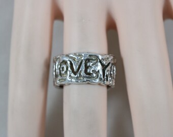 Silver I Love You Word Eternity Ring Size 6.75 8g