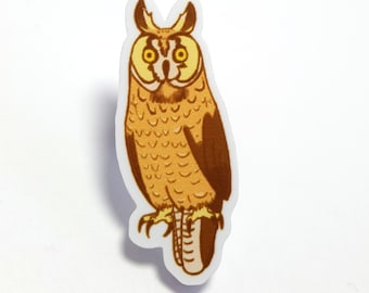 Long-Eared Owl Acrylic Pin / Brooch