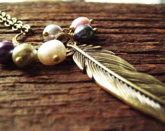 Boho Pearl Necklace, Golden Feather, Bohemian Style, Wrapped Pearls, candies64