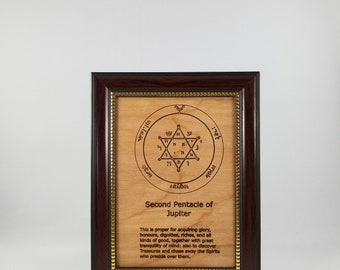 Second Pentacle of Jupiter.  This laser engraved wood plaque is framed.  Size is 5 x 7inches.