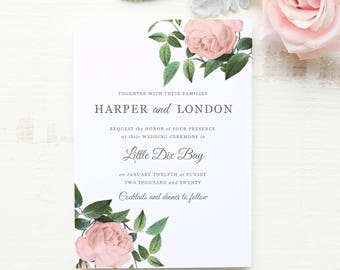 Wedding Invitation Template, Printable Wedding Invitations, DIY Invitations, Vintage Botanical | SUITE028