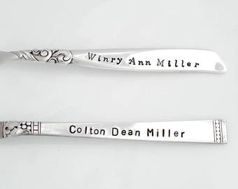Personalized Baby Boy Spoon. Baby Girl Spoon with name and Birth Date. Hand Stamped Baby's First Silver Spoon. Name and Birth Date Baby Gift