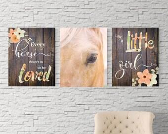 Horse wall art, Horse nursery theme, Farmhouse decor, Nursery Decor, Horse lover, wildflowers, rustic decor, Baby shower gift, UNFRAMED