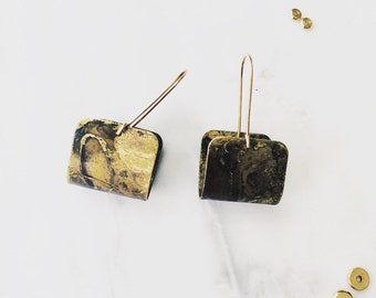 Modern Patina Stirrup Earrings