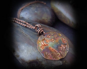 Starry Night Sleeping Fox Necklace - Patina Copper Necklace - Hand Stamped - Hammered Copper - Moon and Stars - Wire Wrapped Copper Necklace