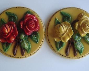 Vintage Pair Rose Chalkware Plaques