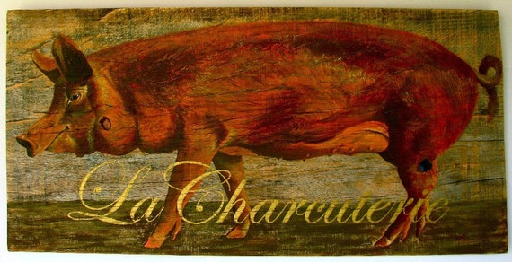 Pig painting,La Charcuterie,Original acrylic painting on reclaimed solid wood board