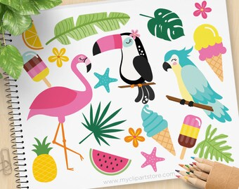 Tropical Summer Clipart, Flamingo, Toucan, Parrot, Tropical plants, ice-cream, palm leaves, Commercial use, Vector Clip Art, SVG Files