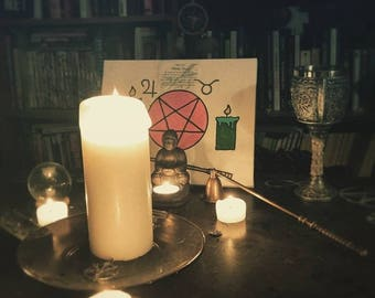 Namaste: Occult Art, Still Life Photo, Pentagram and Candle, Wall or Office Decor