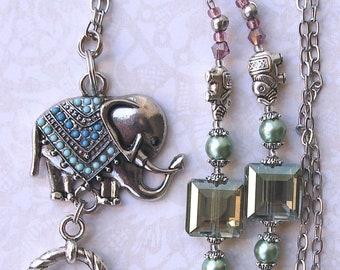 Beaded Lanyard Breakaway Fabulous Elephants Lanyard ID Badge Holder  Magnetic Break Away Blue Turquoise