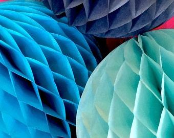 Sky Blue 12 Inch Honeycomb Tissue Paper Balls - Paper Party Decor Decoration Supplies