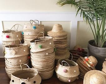 Hand woven Pom pom basket in ss17 colors, storage basket,sea grass basket, handwoven basket,house home decor, collapsable basket bag,baskets