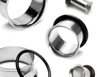 "Single Flared Tunnels Stainless Steel Plugs (6GA-1"")"