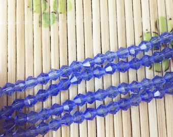 3-6mm Blue Glass Faceted Bicone Beads, Necklace Beads Lampwork, Crystal Jewelry, Loose Bead Wholesale.SKU#38