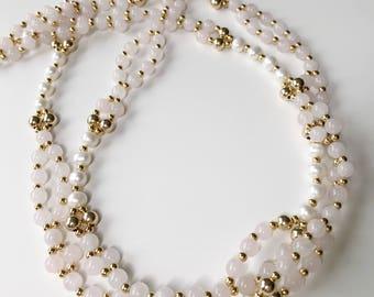Tantric Mala Necklace Kundalini - 6mm Rose Quartz, Freshwater Pearl, Gold Filled
