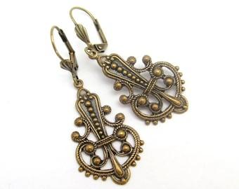 Art Nouveau Earrings Art Deco Antiqued Brass Dangle Drop Ornate Steampunk Wedding Bridaly Gift