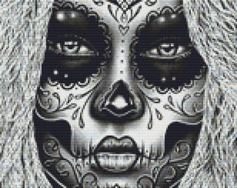 Day of the Dead Cross Stitch, Carissa Rose Art, 'Delia', Sugar Skull Cross Stitch Pattern, CROSS STITCH KIT, Dia de los Muertos, Skull Art