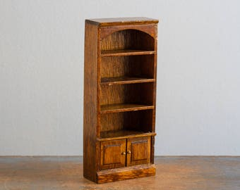Wooden Bookshelf - 1:12 Scale Vintage Dollhouse Furniture