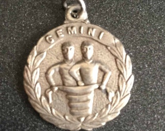 Sterling Silver Gemini Charm, Zodiac Charm, Pisces Astrology Charm, Vintage Gemini II Twins Charm