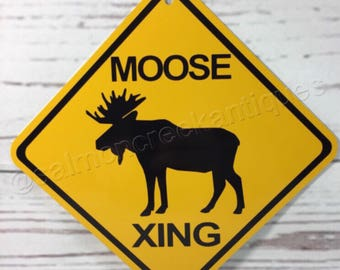 """Moose Xing Mini Metal Yellow Caution Crossing Sign 6""""x6"""" or 12""""x12"""" NEW (2 sizes available)"""