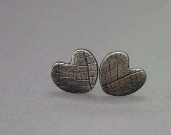 Heart Earrings, Heart Jewelry, Textured Heart, Silver Heart, Stud Earrings, Leaf Imprint Earring, Leaf Studs, Heart Studs, Tiny Stud