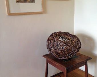 Willow sculpture using willow and apple twigs create woven ball form for contemporary interior decor and design // original artwork somerset