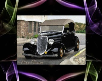 Classic Car digital painting, dark brown with a bit of gold.
