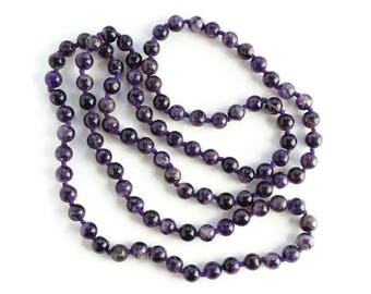 Vintage Amethyst Gemstone Bead Necklace Single Strand Knotted