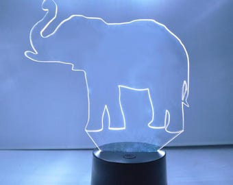 Lucky Elephant Trunk-Up Colour Changing LED Acrylic Light