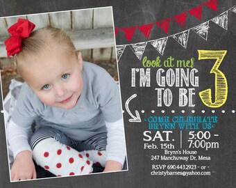 adorable chalkboard 3rd birthday invitation
