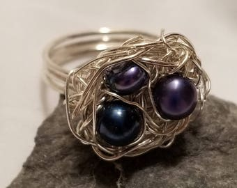Silver Birds Nest Ring