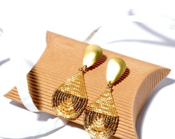 Gold Crystal Bronze Earrings Miyuki Deli Brick Stitch