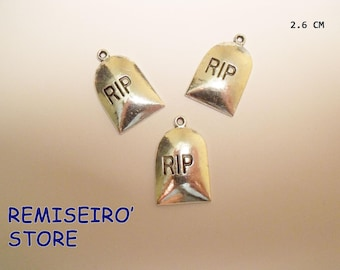 "set of 3 charms ""RIP"" 26 mm silver plated charms"