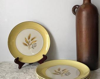 Autumn Gold China * Homer Laughlin Autumn Gold * Century Service Corp. * Wheat Pattern * Dessert Plate * Yellow Dinnerware * Mid Century