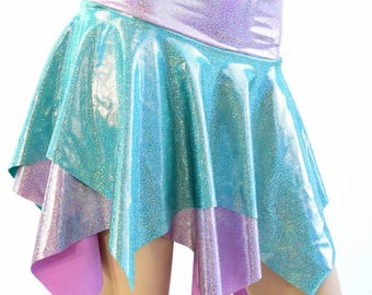 Seafoam Holographic and Lilac Holographic Double Layer Pixie Skirt Rave Festival Clubwear EDM - 154535
