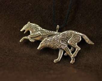 Running Wolves Couple bronze pendant necklace