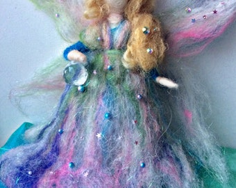 Needle felted fairy, magic fairy, needle felted Waldorf style faerie, fae, unique gift