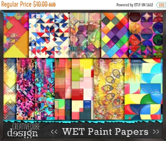 70% OFF Sale Digital Paper Pack Wet Paint 3D effects in gloss. Bright, bold colors. Personal and small commercial Use.