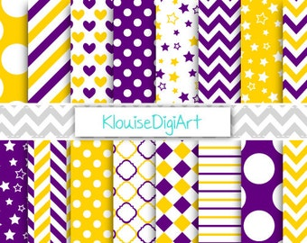 Dark Purple and Gold Printable Digital Paper Pack with Polka Dots, Quatrefoil and Herringbone for Personal and Small Commercial Use (0095)