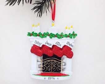 4 Stockings by the Fireplace Ornament / Personalized Christmas ornament / Family Christmas / 4 Family Ornament / Baby Makes 4