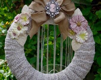 Lace Wreath-Burlap Bow-Burlap Bow-Front Door-Home Decor-Shabby Chic Decor