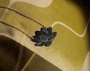 "Black Laser Cut Acrylic Succulent Necklace 20"" Silver Chain"